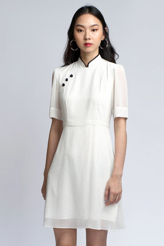 Clara Cheongsam - White Polka (FINAL SALE)