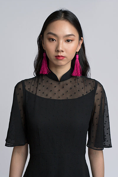 Kate Cheongsam - Black Polka