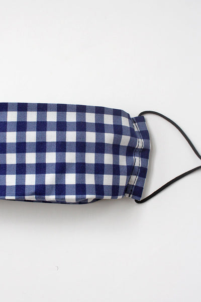 Fabric Mask (Adult) - Navy Gingham