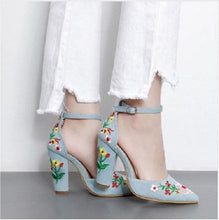 Boussac Women's Beautiful Floral Embroidery High Heels Pumps Shoes