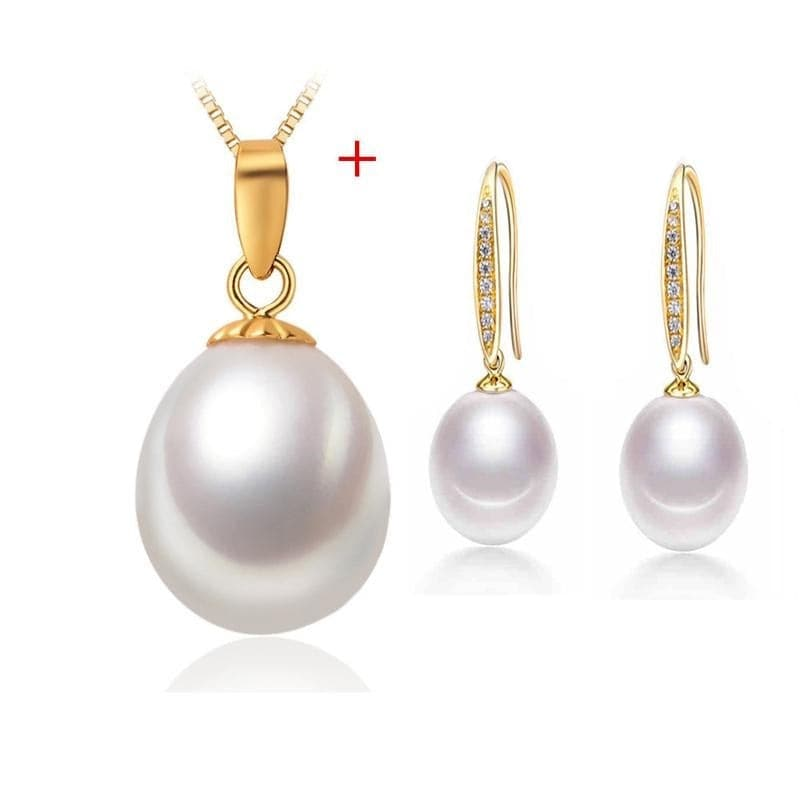 NYMPH Genuine Natural Freshwater 2PCS Fine Pearl Jewelry Set