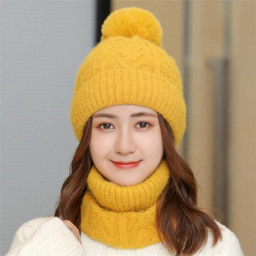 SPK Women's Fashion Autumn Winter Knitted Wool Hat Set Stylish Ball Knitted Cap & Infinity Scarf Set - Divine Inspiration Styles