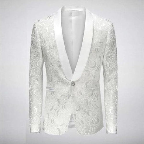 VALENTINE Design Collection Men's Fashion White Embroidered Floral Rose Tuxedo Blazer Jacket - Divine Inspiration Styles