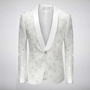VGTE Men's Fashion White Embroidered Rose Floral Tuxedo Blazer for Wedding, Prom & Stage Performers - Divine Inspiration Styles