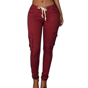RAYNA's Women's Stylish Skinny Fitness Pants Multi-Pockets Drawstring Trousers - Divine Inspiration Styles