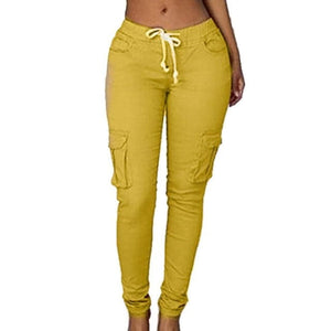 RAYNA Women's Stylish Skinny Fitness Pants Multi-Pockets Drawstring Trousers - Divine Inspiration Styles