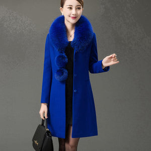 GRACE Women's Autumn Winter Luxury Fashion Large Fur Collar Long Single-Breasted Wool Design Cashmere Coat Large Size Wool Coat - Divine Inspiration Styles