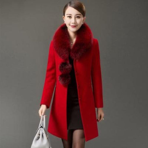 GRACE Women's Luxury Fashion Large Fur Collar Design Cashmere Long Wool Coat Jacket - Divine Inspiration Styles