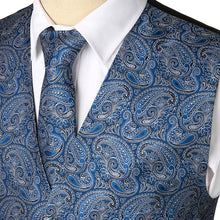KINGSTON DESIGN Men's Fashion Brand Gold Blue Purple Decorated Paisley Men's Suit Set (Vest + Tie + Pocket Squares) 3PCS - Divine Inspiration Styles