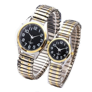 NELSON DESIGN Men's & Women's Business Fashion Watch Elastic Stretch Gold Sliver Quartz Watch - Divine Inspiration Styles