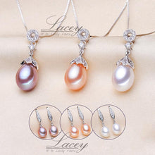 LACEY Genuine Natural Freshwater Pearl Jewelry Set with Pendant Necklace and Earrings Jewelry Set - Divine Inspiration Styles