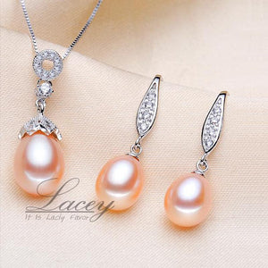 LACEY Women's Genuine Natural Freshwater Pearl 2PCS Jewelry Set - Divine Inspiration Styles