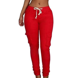 RAYNA's Women's Stylish Skinny Pants Fitness Solid Trousers Casual Women's Multi-Pockets Drawstring Tie Trousers Jogger Fashion Pants for Women - Divine Inspiration Styles