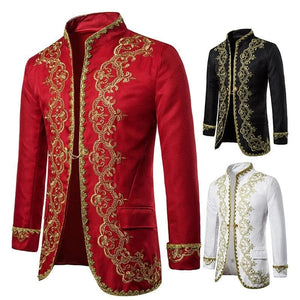 MWS Men's Fashion Gold Embroidery Regal Palace Design Men's Blazers Formal Party Wedding Festival Costume Men's Dress Suit Blazer Jacket - Divine Inspiration Styles