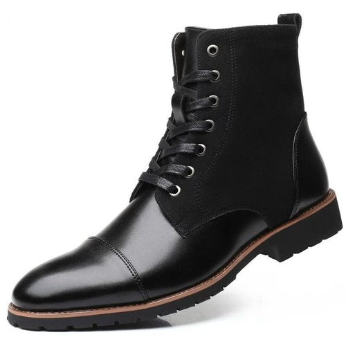 HHS Men's Fashion Lace-Up Genuine Leather Ankle Boots Work Shoes - Divine Inspiration Styles