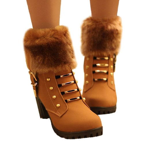 HADARA Women's Fashion Plush Fur Gold Statement Ankle Boot Shoes - Divine Inspiration Styles