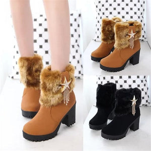 HADARA Women's Fashion Star Statement Plush Fur Stylish Ankle Boots - Divine Inspiration Styles