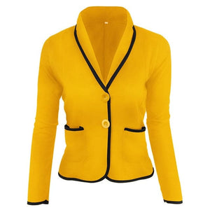 JKS Women's Fashion Blazer Jacket for Business Solid Color Shawl Lapel Jacket - Divine Inspiration Styles
