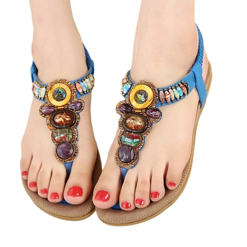 HHS Women's Fashion Bohemia Style Sandals with Gemstone Beaded Slippers Summer Beach Sandals Women's Flip Flops Ladies Flat Sandals Shoes - Divine Inspiration Styles