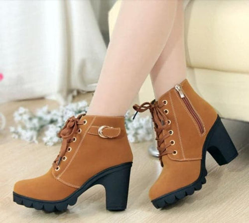 HHS Women's Fashion Ankle Boots for Women Winter Shoes High Heels Boots with Velvet Suede - Divine Inspiration Styles