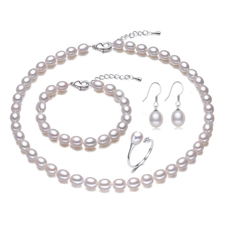 LACEY Women's Genuine Natural Freshwater Pearl Jewelry Set - Divine Inspiration Styles