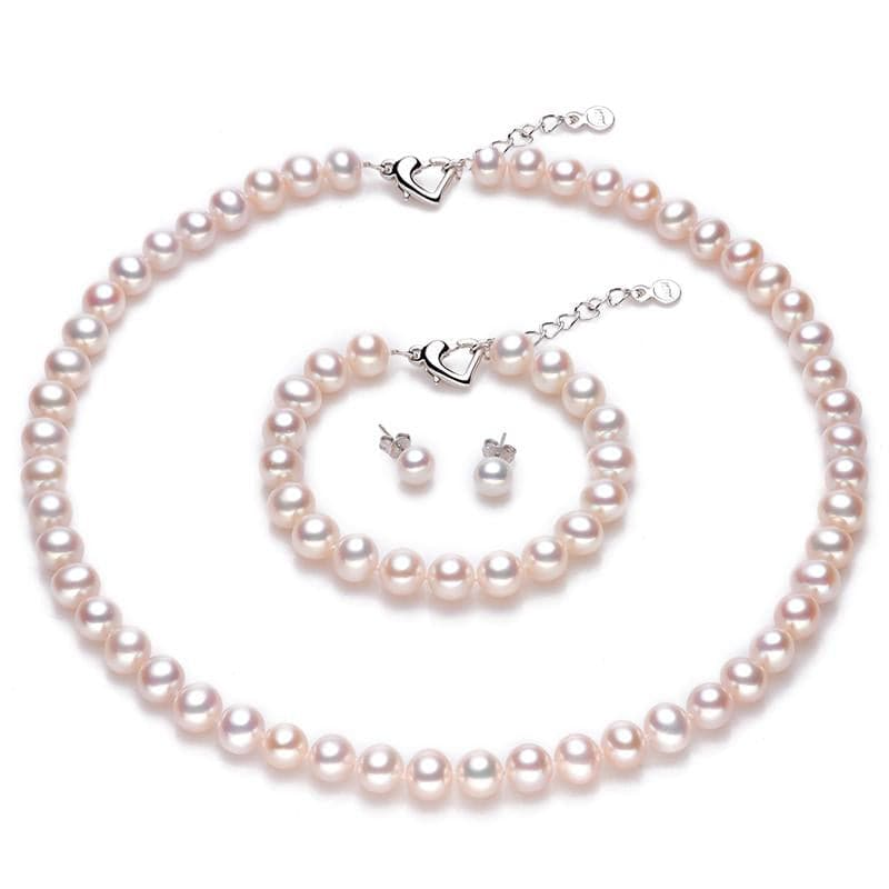 LACEY Genuine Natural Freshwater Pearl Bridal Wedding Fine Jewelry Set