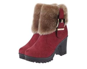 HADARA Design Women's Fashion Plush Fur Ankle Boot Shoes - Divine Inspiration Styles