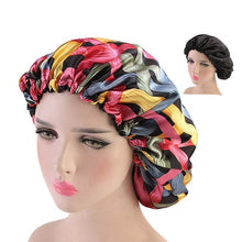 NYAN Women's Fashion Large Size Beauty Print Satin Silk Bonnet Sleep Night Cap Head Cover Bonnet Hat - Divine Inspiration Styles