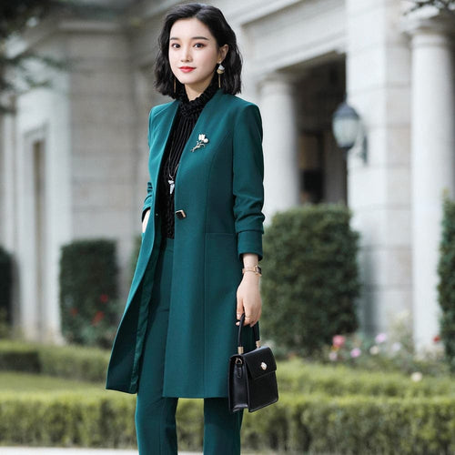 FIONA's Women's Formal Luxury Business Fashion Elegant V Neck Long Blazer Jacket + Pants Suit Set 2-PCS or 3-PCS Suit Set - Divine Inspiration Styles