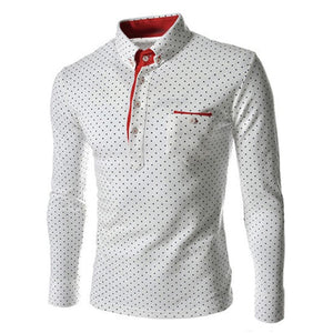 BTL Collection Men's Fashion Polka Dot Button Down Long Sleeve Shirt - Divine Inspiration Styles