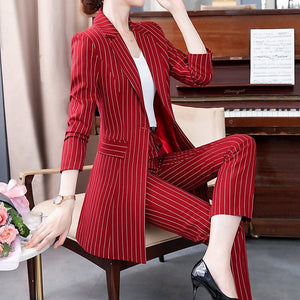 MACKENZIE Women's Formal Business Fashion Pinte Stripes Suit Set - Divine Inspiration Styles