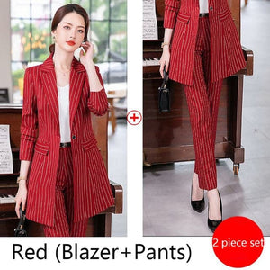 MACKENZIE's Women's Formal Luxury Business Fashion Pinte Stripes Long Blazer Pants or Skirt Suit Set 2-PCS Premium Quality Suit Set - Divine Inspiration Styles