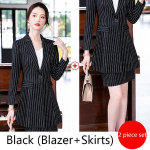 MACKENZIE's Women's Formal Business Fashion Pinte Stripes Suit Set - Divine Inspiration Styles