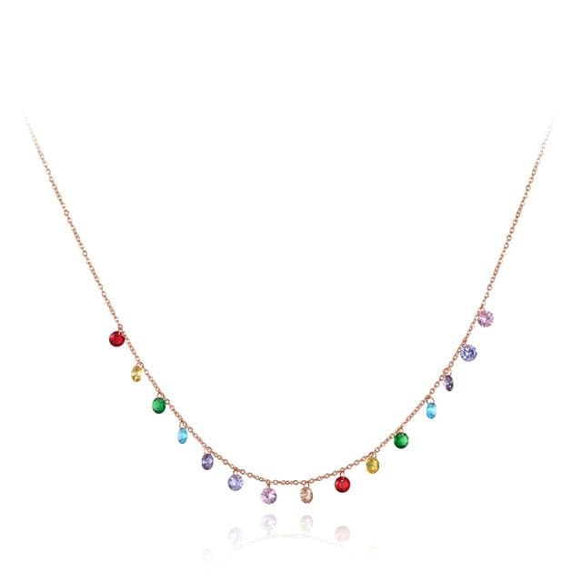 LKR Women's Fine Fashion Trendy Bohemian Style Colorful CZ Necklace - Divine Inspiration Styles