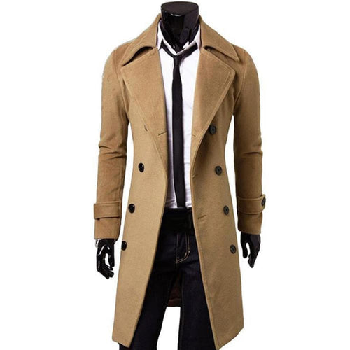 BTL Collection Men's Fashion Premium Quality Long Trench Wool Jacket Coat - Divine Inspiration Styles