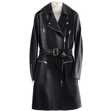LAUTARO Women's Fashion Premium Quality Black Leather Belted Jacket - Divine Inspiration Styles