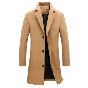 BTL Collection Men's Fashion Premium Quality Long Wool Blend Solid Coat - Divine Inspiration Styles