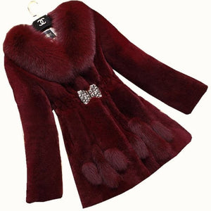 LUGENTOLO Women's Fine Fashion Elegant Faux Fur Collar Coat - Divine Inspiration Styles