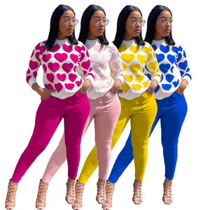 KGO Women's Fine Fashion 2-PCS Sets Fun Casual Vogue Autumn Winter Spring Jogger Sweatshirts + Pant Set - Divine Inspiration Styles