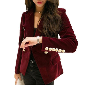 LXUNYI Women's Premium Top Quality Double Breasted Velvet Blazer with Gold Tone Buttons - Divine Inspiration Styles