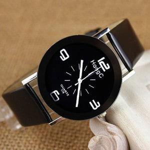 HONGC Genuine Leather Women's Fashion Black & White Luxury Watch