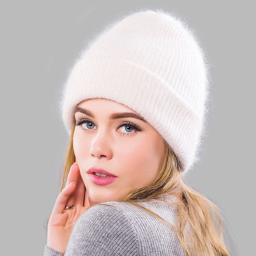 LORY Design Collection Women's Winter Plush Fur Knitted Cashmere Beanie Hat - Divine Inspiration Styles