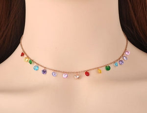 LKR Women's Fine Fashion Trendy Bohemian Style Stainless Steel Colorful CZ Crystal Necklace - Divine Inspiration Styles