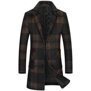 BRADFORD Design Collection Men's Fashion Premium Quality Long Wool Plaid Trench Coat - Divine Inspiration Styles