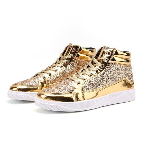 WLFH Men's Leather Metallic Sports Sneaker Shoes Silver Gold Black Metallic Sneaker - Divine Inspiration Styles