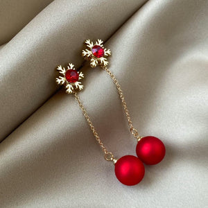 LANI Women's Fashion Christmas Red Drop Earrings - Divine Inspiration Styles