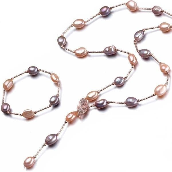 LACEY Women's Genuine Multi-Color Freshwater Pearl Jewelry Set - Divine Inspiration Styles