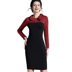 Nice-Forever Women's Fashion Classic Elegant Fitted Long Sleeves Patchwork Collar Button Sheath Dress