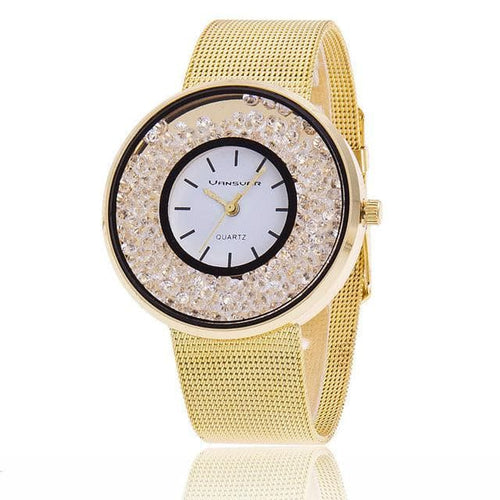VANSVAR Gold Rose Gold & Silver Metallic Mesh Women's Rhinestone Fashion Watch
