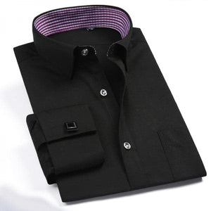 QISHA Men's Fashion Classic Long Sleeves Dress Shirts with Free Cufflinks Included - Divine Inspiration Styles